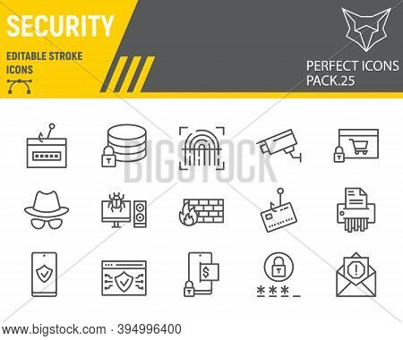 Security Line Icon Set, Network Protection Collection, Vector Sketches, Logo Illustrations, Security