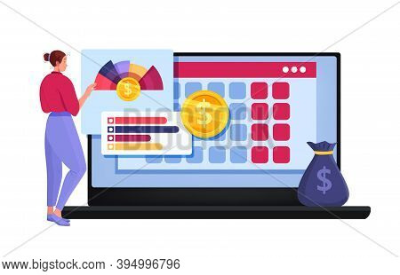 Personal Budget Planning Or Online Tax Report Vector Cartoon Illustration With Woman, Laptop, Graphs