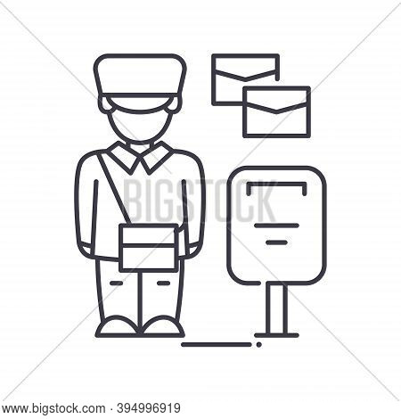 Postman Service Icon, Linear Isolated Illustration, Thin Line Vector, Web Design Sign, Outline Conce