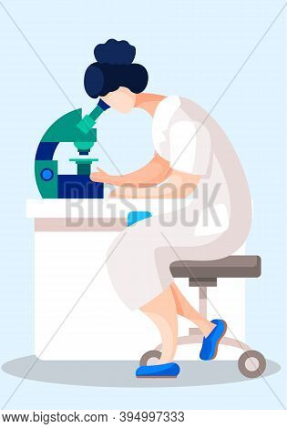 Woman Scientist Is Looking Through A Microscope. Chemist Is Working With The Equipment In The Labora