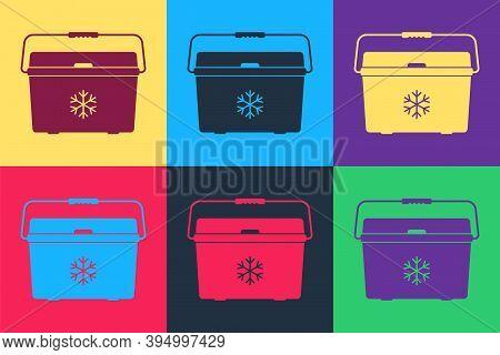Pop Art Cooler Bag Icon Isolated On Color Background. Portable Freezer Bag. Handheld Refrigerator. V