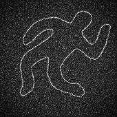 Chalk outline of dead body on asphalt road poster