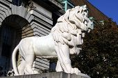 Statue of a lion. Stonework architecture of an animal poster