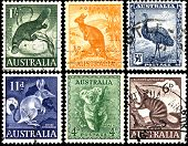 Old postage stamps of Australia Circa 1937. poster