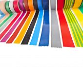 border of colourful insulating adhesive tape isolated on white background poster