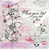 Textured background with Orchid in watercolor effect in pastel colors poster