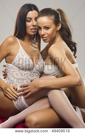 Beautiful sensual lesbian couple on gray isolated background