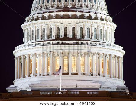 Us Capitol Dome Closeup Night Washington Dc