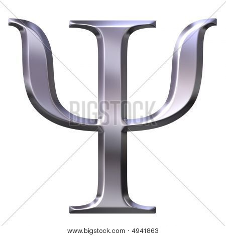 3d silver Greek letter Psi isolated in white poster