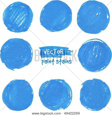Round blue marker vector color stains. This is file of EPS10 format. poster