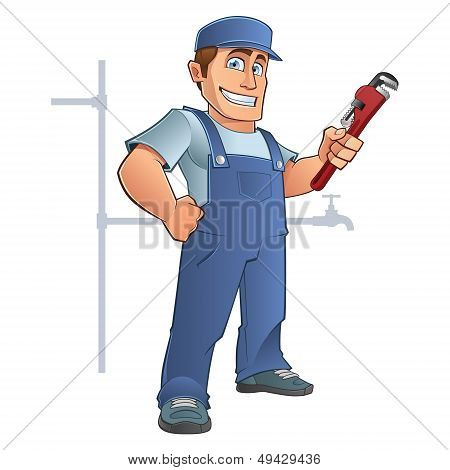 Plumber sympathetic with a tool in hand, vector poster
