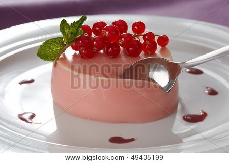 Creamy Vanilla Pannacotta With Red Currant Flavouring