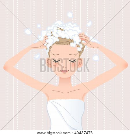 Young Woman Washing Her Head With Shampoo