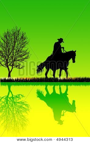 Illustration of a jockey riding his horse