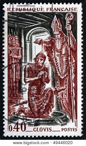 Postage Stamp France 1966 Baptism Of Clovis, 496 A.d.