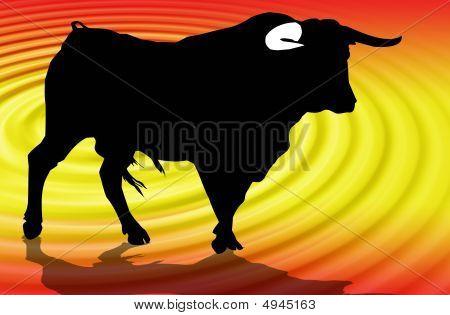 Illustration of a bull in the popular festivals of Spain poster