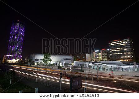 Sky tower office business building by night