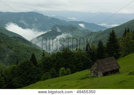 Wood house in the forest of Maramures Mountains