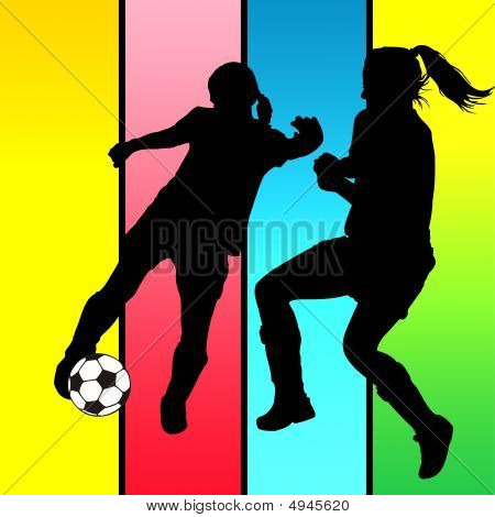 Illustration of a young girls playing soccer