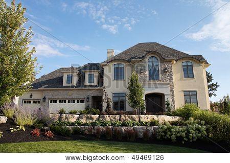 Luxury Stucco House Stone