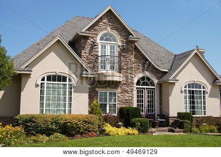 Stucco Stone House Pretty Windows