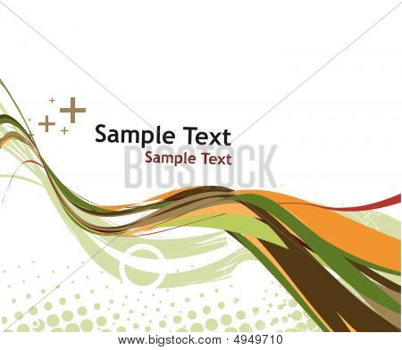 abstract wave line with sample text background - vector illustration poster