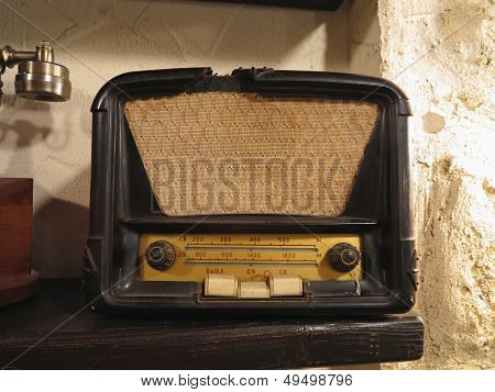 Vintage brown old radio receiver of the last century poster