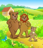 Illustration for tale Three bears. Bears walking home. poster