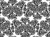 lace guipure seamless pattern with abstract flowers on white background poster