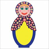 Colorful Russian folk doll Matryoshka to design dishes covers and other purposes isolated vector poster