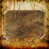 Old postcard for congratulation or invitation on the grunge background. Scratched and cracked wall poster