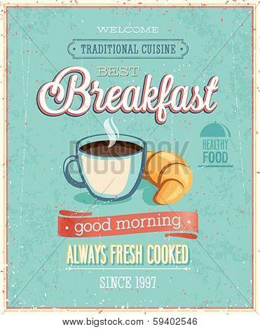 Vintage Breakfast Poster. Vector illustration.
