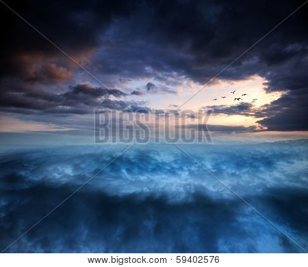 Fantasy Skyscape Sunset Over Surreal Vortex Formation