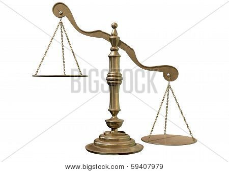 An empty bronze justice scale with one side outweighing the the other on an isolated background poster