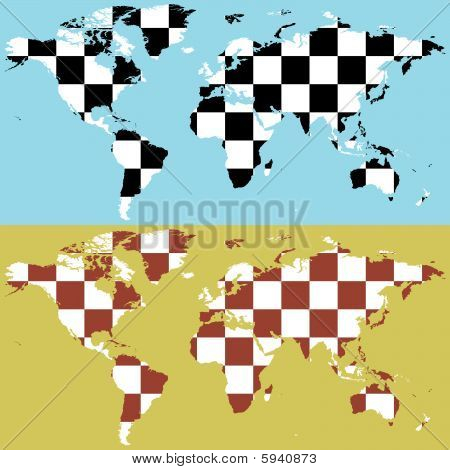 fully editable vector world map with chess pattern