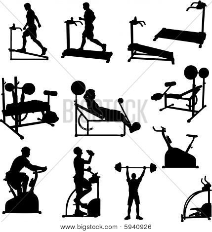 Male Excercise Silhouettes