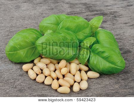 Basil and pine nuts on wooden tables close up poster
