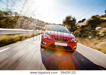 Car On A Road Full Of Dangerous Bends