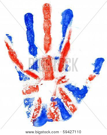Handprint Of A Great Britan Flag On A White
