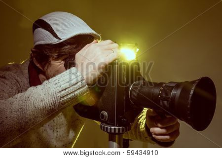 Man With Old Film Movie Camera