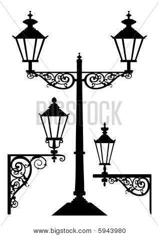 Vector retro streetlight set