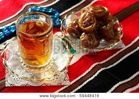 Tea and dates during the month of Ramadan.