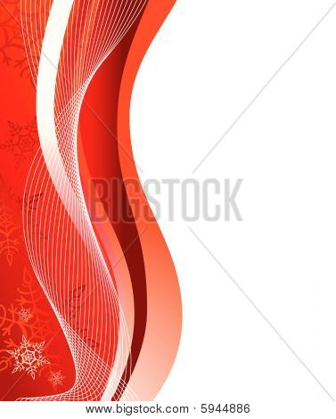 Red winter background with snowflakes. Vector illustration