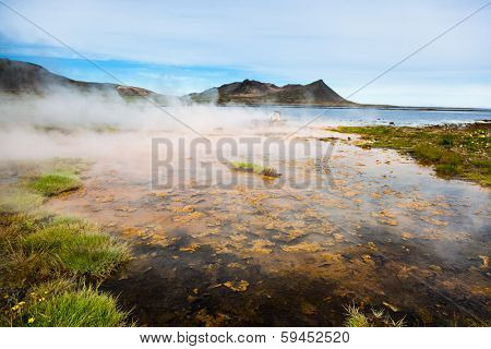 Hot springs next the sea, Snaefellsnes peninsula, Iceland.