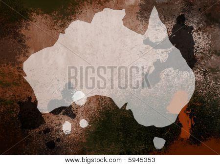 Grunge Styde Map Of Australia