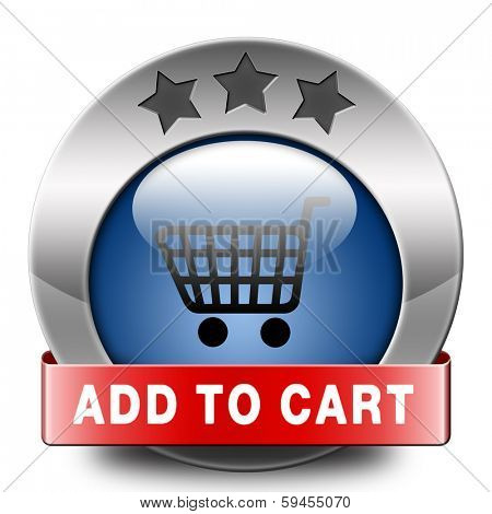 Add to shopping cart icon or sign go to the online webshop, internet web shopping button