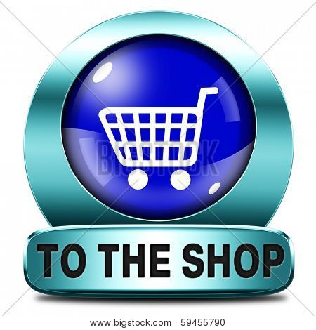 Shop now icon go to the online webshop button, internet web shopping sign