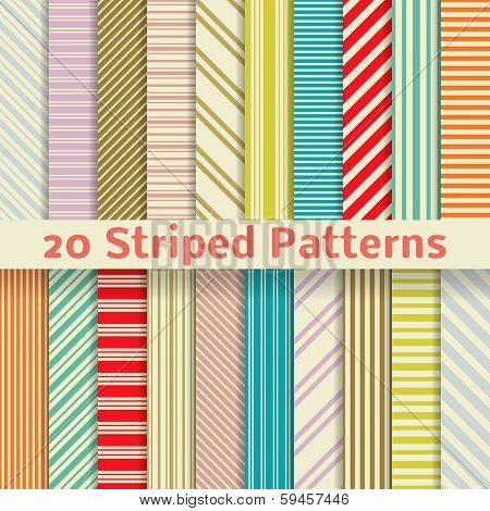 Retro striped vector seamless patterns (tiling)