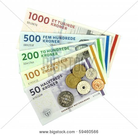 Danish kroner ( DKK ), coins and banknotes on white background poster