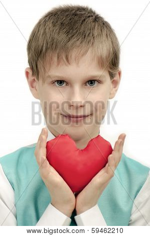 boy with red Heart in hands.